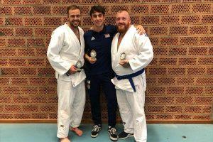 JFAUK Judoka Ross Elliot, Sam Sampson and Adam Brown with their trophies.